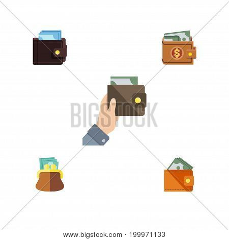 Flat Icon Wallet Set Of Purse, Wallet, Money And Other Vector Objects