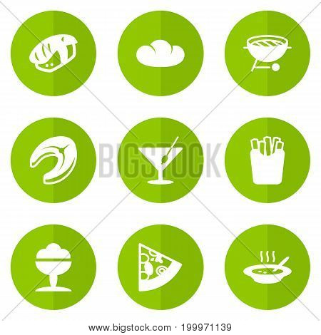 Collection Of Barbecue, Sorbet, Pepperoni And Other Elements.  Set Of 9 Food Icons Set.