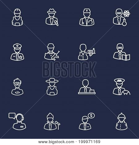 Collection Of Banker, Worker, Soldier And Other Elements.  Set Of 16 Job Outline Icons Set.