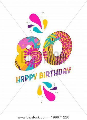 Happy Birthday 80 Year Paper Cut Greeting Card