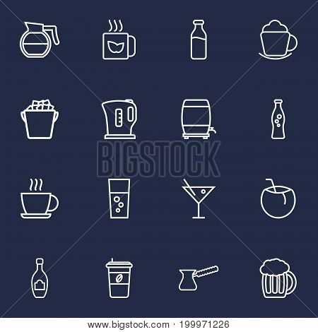 Collection Of Soda, Beer, Coffeepot And Other Elements.  Set Of 16 Drinks Outline Icons Set.