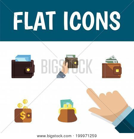 Flat Icon Purse Set Of Pouch, Purse, Payment And Other Vector Objects