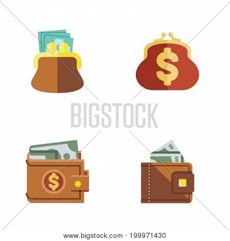 Flat Icon Purse Set Of Finance, Money, Pouch And Other Vector Objects