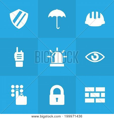 Collection Of Insurance, Padlock, Firewall And Other Elements.  Set Of 9 Safety Icons Set.