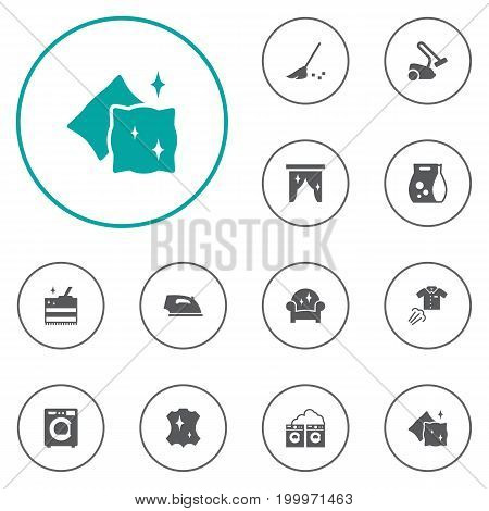 Collection Of Iron, Cushion, Curtain And Other Elements.  Set Of 12 Cleanup Icons Set.