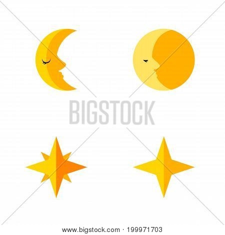 Flat Icon Bedtime Set Of Asterisk, Lunar, Star And Other Vector Objects