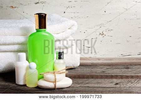 Soap Bar And Liquid. Shampoo, Shower Gel, Lotion. Towels. Spa Kit
