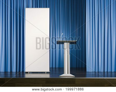 Tribune with a microphone and white rollup banner on stage. 3d rendering