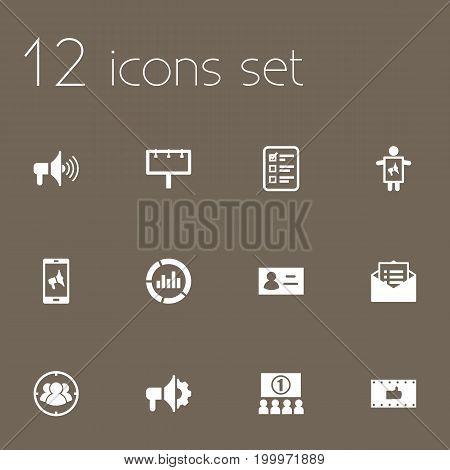 Collection Of Like, Id, Message And Other Elements.  Set Of 12 Commercial Icons Set.