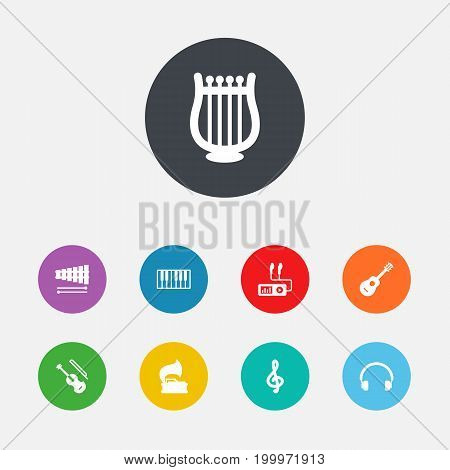 Collection Of Acoustic, Audio Device, Turntable And Other Elements.  Set Of 9 Melody Icons Set.