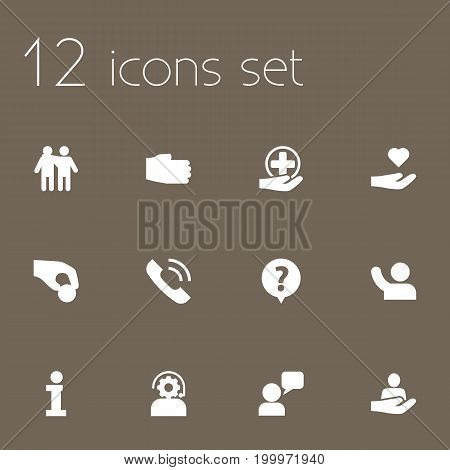 Collection Of Info, Call, Human And Other Elements.  Set Of 12 Maintenance Icons Set.