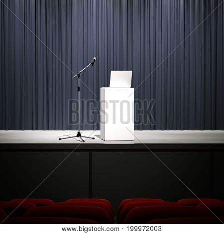 Microphone with laptop on a modern stage. 3d rendering