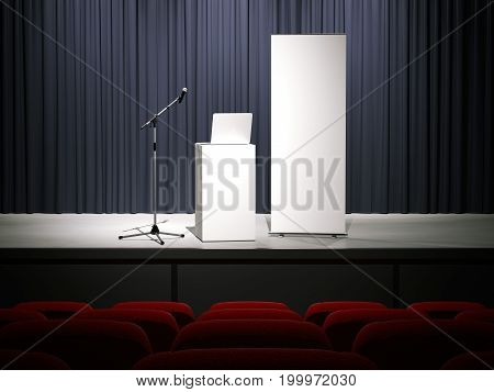 Microphone with laptop and rollup banner on a modern stage. 3d rendering