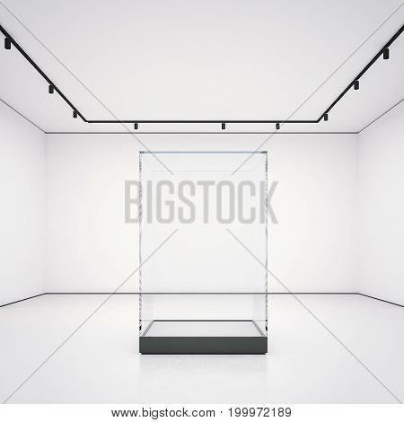 White clean gallery with empty glass showcase. 3d rendering