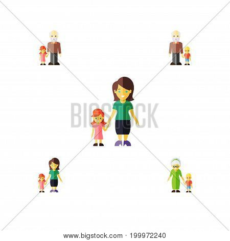 Flat Icon Relatives Set Of Grandson, Grandpa, Mother Vector Objects
