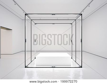 White clean gallery with empty modern showcase. 3d rendering