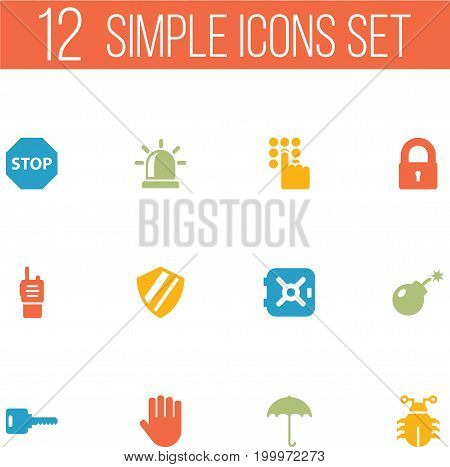 Collection Of Sign, Keypad, Protection And Other Elements.  Set Of 12 Safety Icons Set.