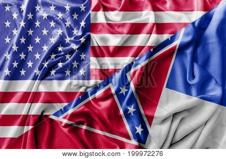 Ruffled waving United States of America and Mississippi flag