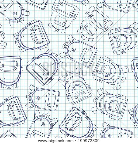 School backpack seamless background, lined backpack on white paper background, endless pattern