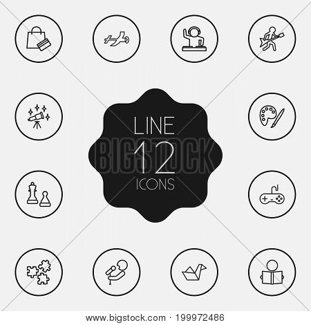 Collection Of Chess, Musician, Origami And Other Elements.  Set Of 12 Lifestyle Outline Icons Set.