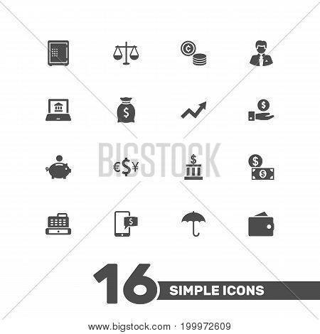 Collection Of Electron Report, Cashbox, Purse And Other Elements.  Set Of 16 Budget Icons Set.