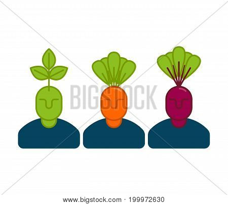Office Vegetables Managers. Carrots And Beets. Set Of Office Staff Icons. Business Concept Symbol