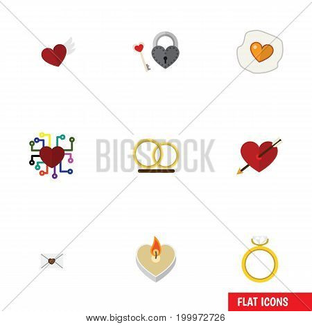 Flat Icon Heart Set Of Fire Wax, Heart, Engagement And Other Vector Objects
