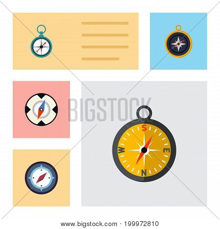 Flat Icon Compass Set Of Magnet Navigator, Navigation, Orientation And Other Vector Objects