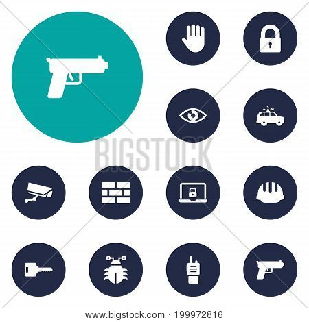 Collection Of Notebook, Padlock, Surveillance And Other Elements.  Set Of 12 Procuring Icons Set.