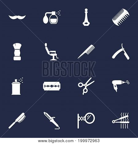 Collection Of Instrument, Odor, Hairspray And Other Elements.  Set Of 16 Shop Icons Set.