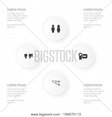 Icon Film Set Of Female, Negative, Cinema And Other Vector Objects