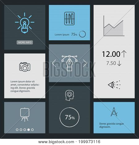 Collection Of Dslr Camera, Drawing Tools, Idea And Other Elements.  Set Of 8 Constructive Outline Icons Set.