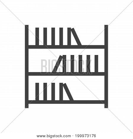 Vector Bookshelf Element In Trendy Style.  Isolated Book Outline Symbol On Clean Background.