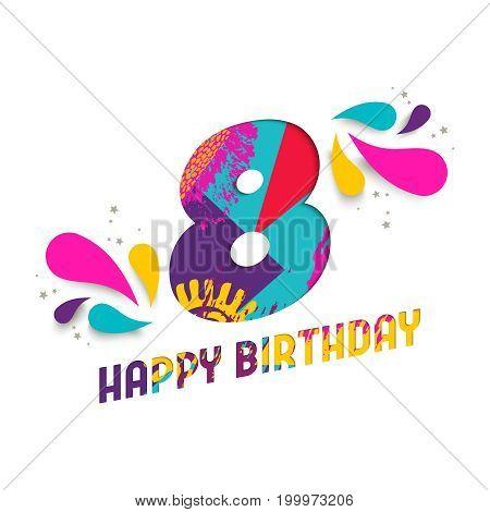 Happy Birthday 8 Year Paper Cut Greeting Card
