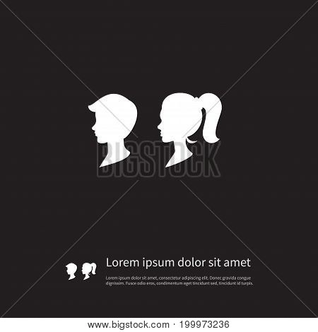 Female Vector Element Can Be Used For Man, Female, People Design Concept.  Isolated Man Icon.