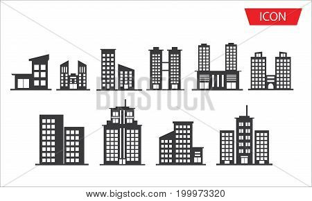 building vector icon set on white background.