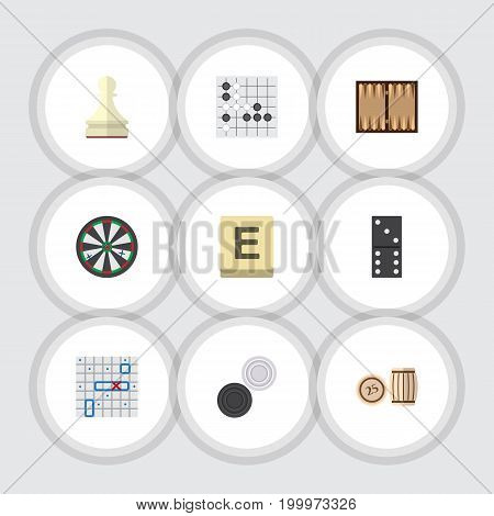 Flat Icon Games Set Of Gomoku, Mahjong, Chequer And Other Vector Objects