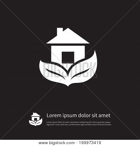 Estate Vector Element Can Be Used For Leaf, Eco, Home Design Concept.  Isolated Leaf Icon.