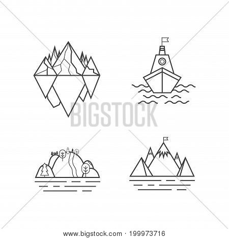 Set of vector mountain and outdoor adventures logo. Tourism, hiking and camping labels. Mountains and travel icons for tourism organizations, outdoor events and camping leisure. Iceberg, shep, marina
