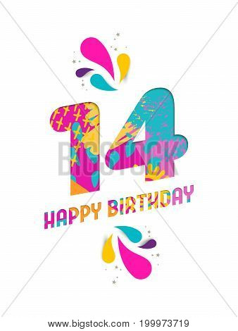Happy Birthday 14 Year Paper Cut Greeting Card