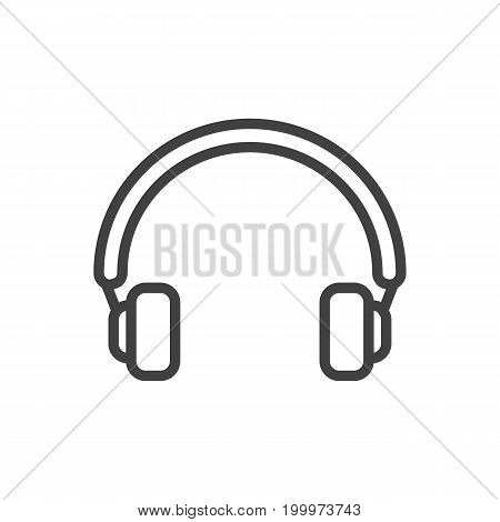Vector Headphones  Element In Trendy Style.  Isolated Earphones Outline Symbol On Clean Background.