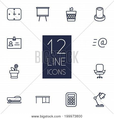 Collection Of Staple, Badge Id, Pencil And Other Elements.  Set Of 12 Office Outline Icons Set.