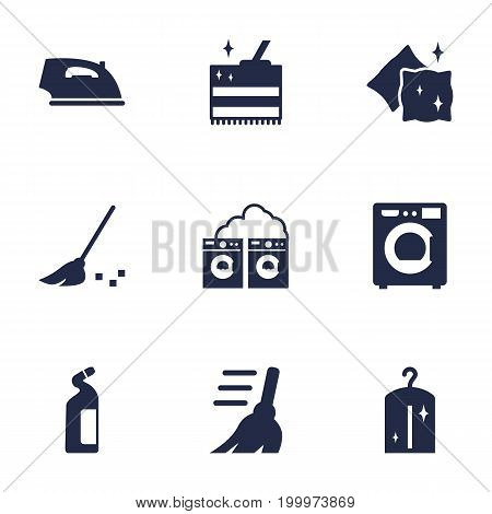Collection Of Iron, Detergent, Besom And Other Elements.  Set Of 9 Cleanup Icons Set.