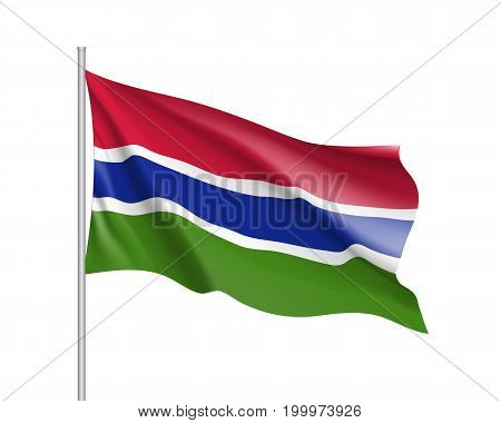 Gambia flag. Illustration of African country waving flag on flagpole. Vector 3d icon isolated on white background. Realistic illustration
