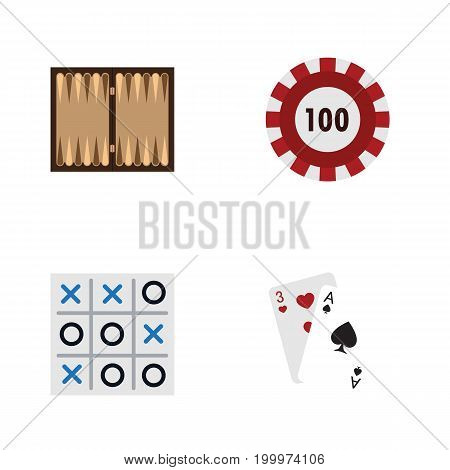 Flat Icon Games Set Of X-O, Ace, Dice And Other Vector Objects