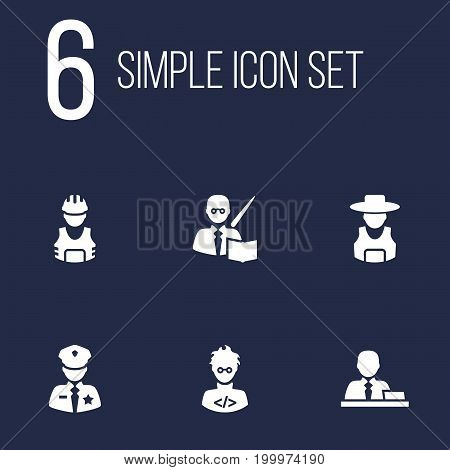 Collection Of Working, Coder, Manager And Other Elements.  Set Of 6 Job Icons Set.
