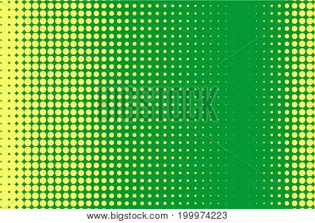 Halftone pattern. Comic background. Dotted retro backdrop with circles, dots. Design element for web banners, posters, cards, wallpapers, sites. Pop art style. Vector illustration. Green-yellow