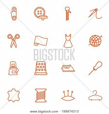 Collection Of Pincushion, Needle, Iron And Other Elements.  Set Of 16 Stitch Outline Icons Set.