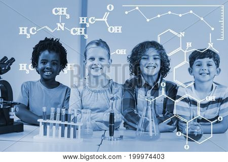 Digital image of chemical formulas against portrait of kids doing a chemical experiment in laboratory