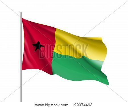 Guinea-Bissau flag. Illustration of African country waving flag on flagpole. Vector 3d icon isolated on white background. Realistic illustration